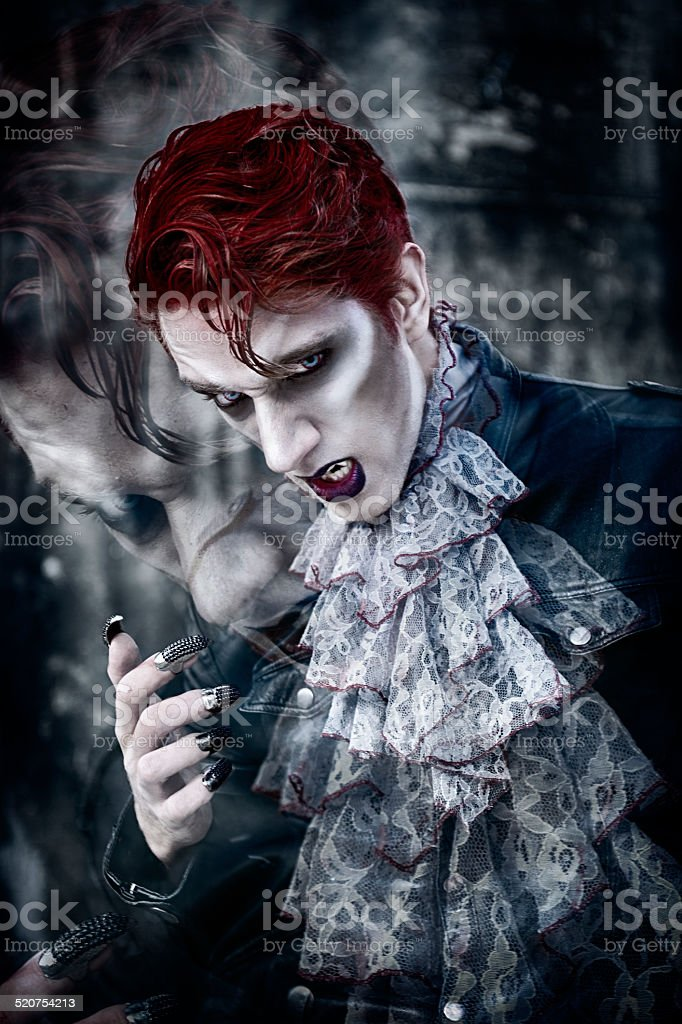 Vampire's Royal Thrist And A Haunting Dream For His Victim stock photo