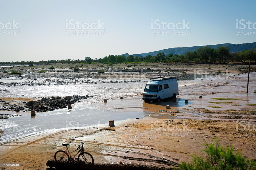 Van Crossing Flooded Road, Morocco, Africa royalty-free stock photo
