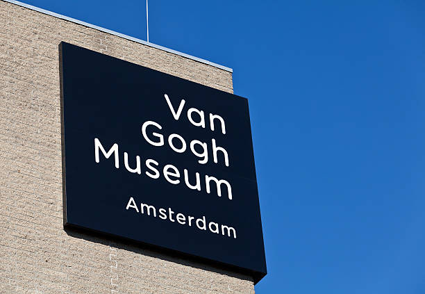 Van Gogh museum in Amsterdam Amsterdam, The Netherlands - October 15 2011: Exterior detail of the Van Gogh museum in Amsterdam, featuring the name of the museum. museumplein stock pictures, royalty-free photos & images