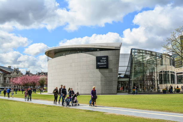 Van Gogh Museum, Museumplein in Amsterdam, Netherlands Amsterdam, the Netherlands, Circa April 2017: The Van Gogh Museum, Museumplein. The largest collection of Van Gogh's paintings and drawings in the world. museumplein stock pictures, royalty-free photos & images
