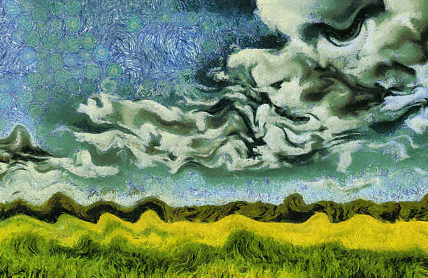 Van Gogh style painting green summer meadow landscape stock photo