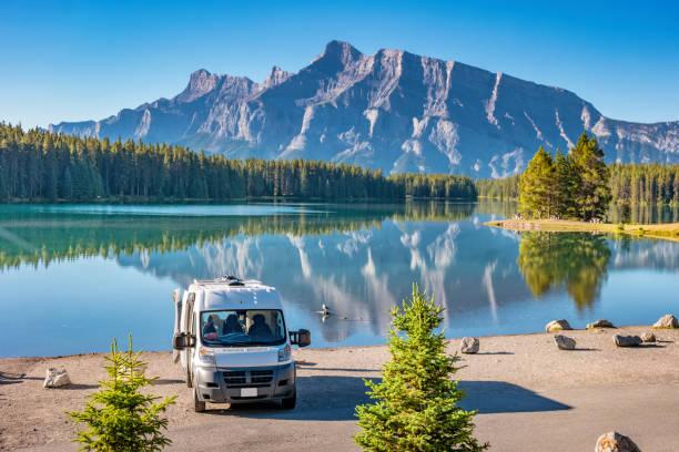 RV van in Banff National Park Alberta Canada stock photo