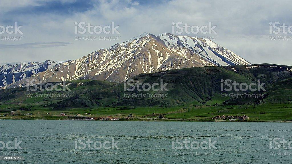 Van Lake and Turkish mountains stock photo