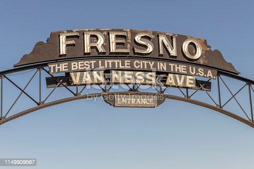 Van Ness Avenue Entrance to Downtown Fresno, California, USA.