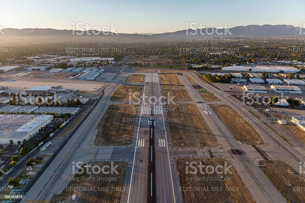 Van Nuys Airport Late Afternoon Runway Aerial stock photo