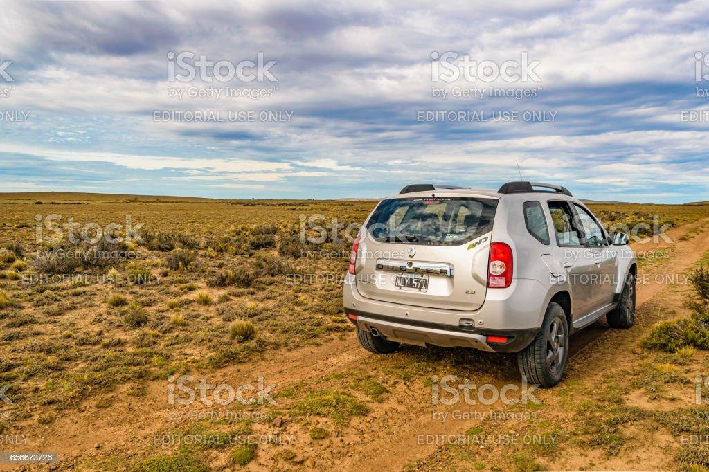Van parked at Patagonian Dirty Road stock photo