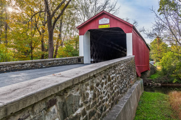 Van Sandt Covered Bridge View stock photo