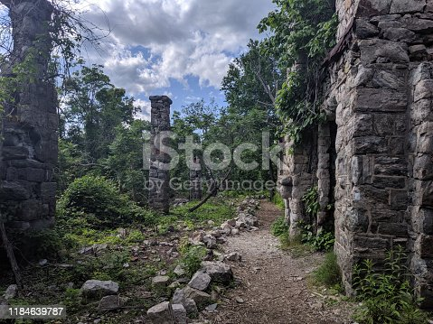 Oakland, New Jersey/USA - May 27 2019: Van Slyke Castle ruins hidden in the woods at Ramapo Reservation. New Jersey. Haunting remains of Foxcroft from 1900's.
