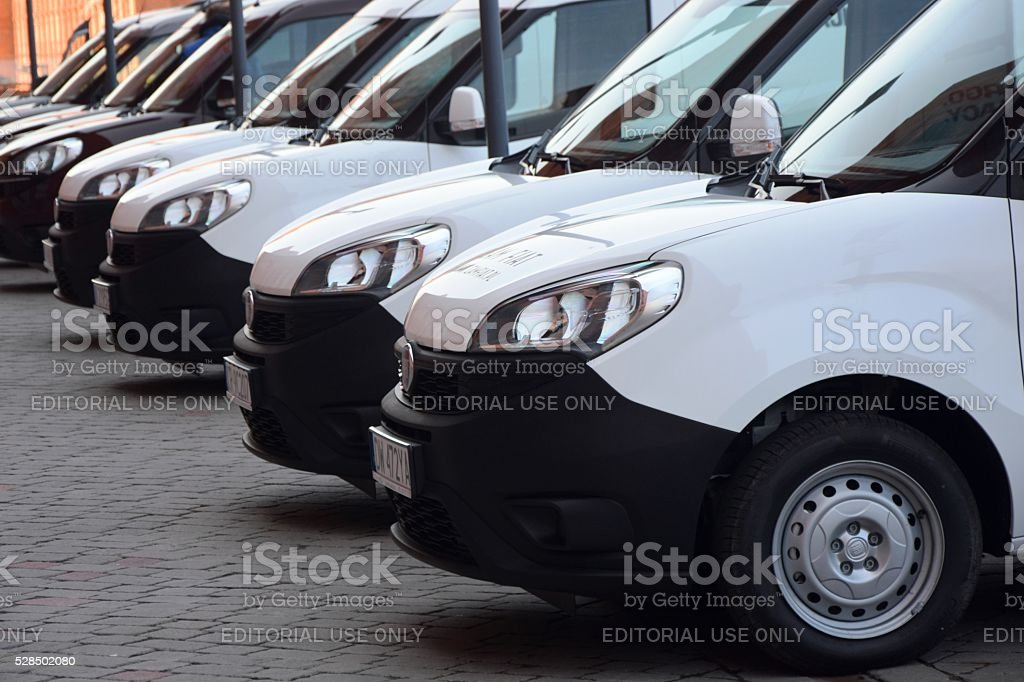 Van vehicles on the parking stock photo
