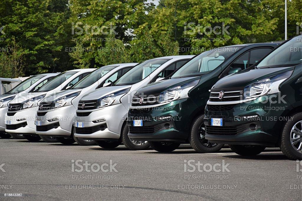 Van vehicles on the parking stock photo