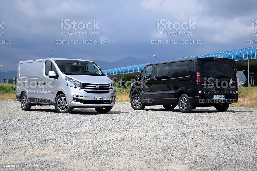 Van vehicles on the road stock photo