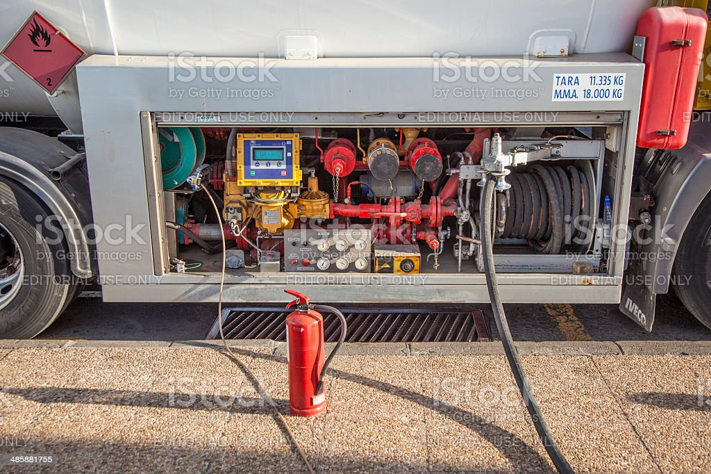 van with Butane Gaz to fill up the tanks stock photo