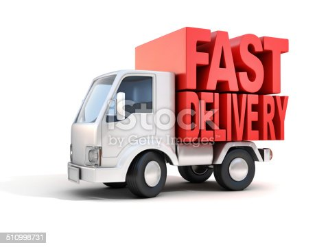 510998733 istock photo van with fast delivery letters on back 510998731
