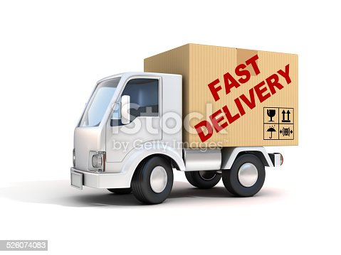 510998733istockphoto van with fast delivery letters on back 526074083