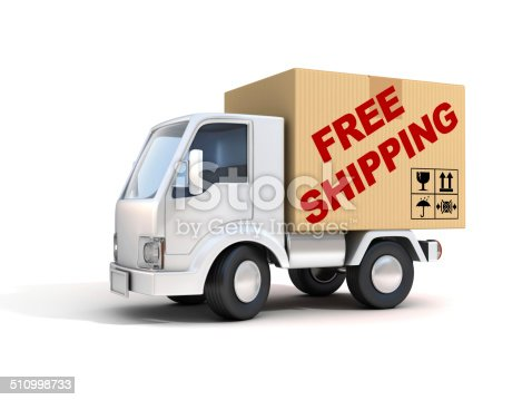510998733 istock photo van with free shipping letters on back 510998733