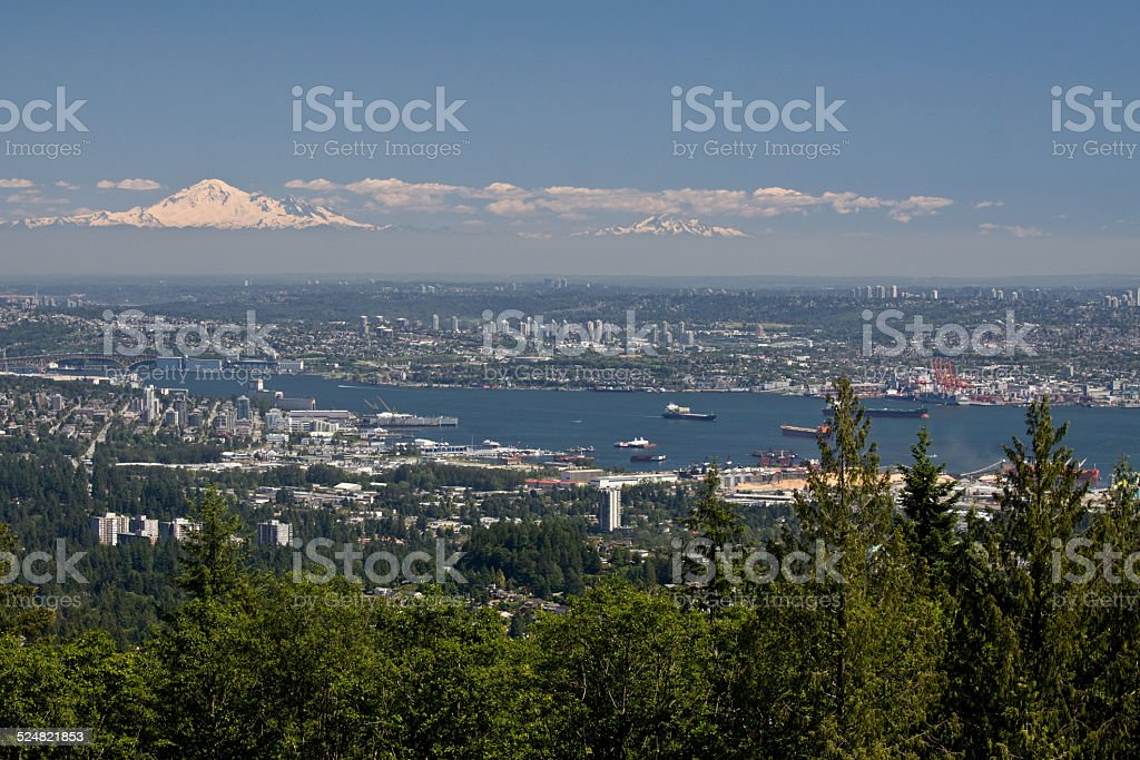 Vancouver aerial view with Mount Baker stock photo