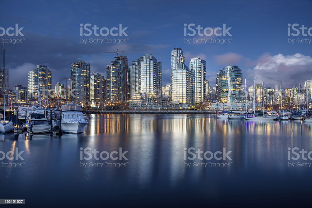 Vancouver after dusk stock photo