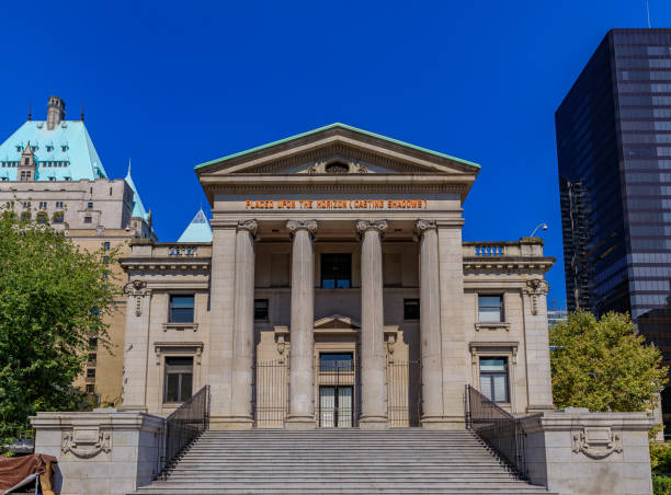 Vancouver Art Gallery on Robson Square built in Roman style in British Columbia Canada stock photo