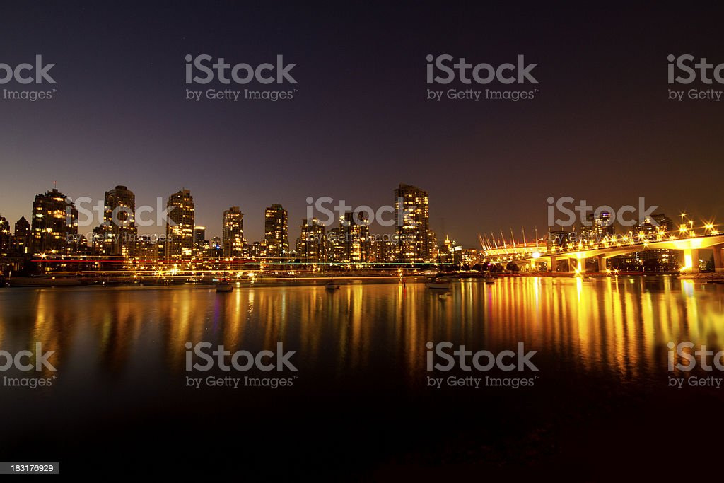 Vancouver at night - False Creek royalty-free stock photo