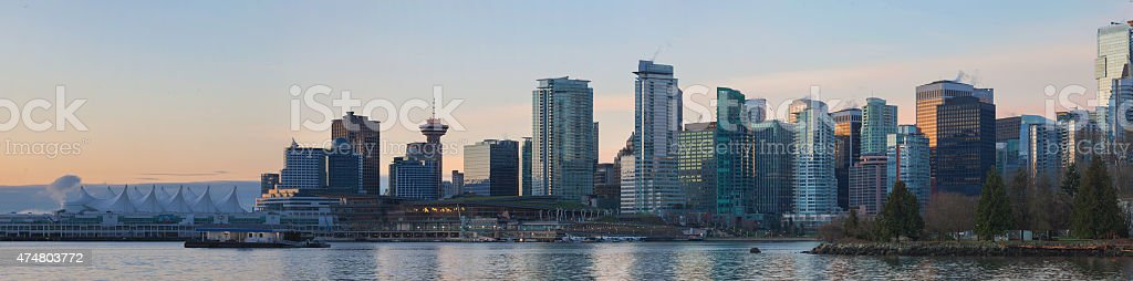 Vancouver BC City Skyline from Stanley Park at Sunrise stock photo