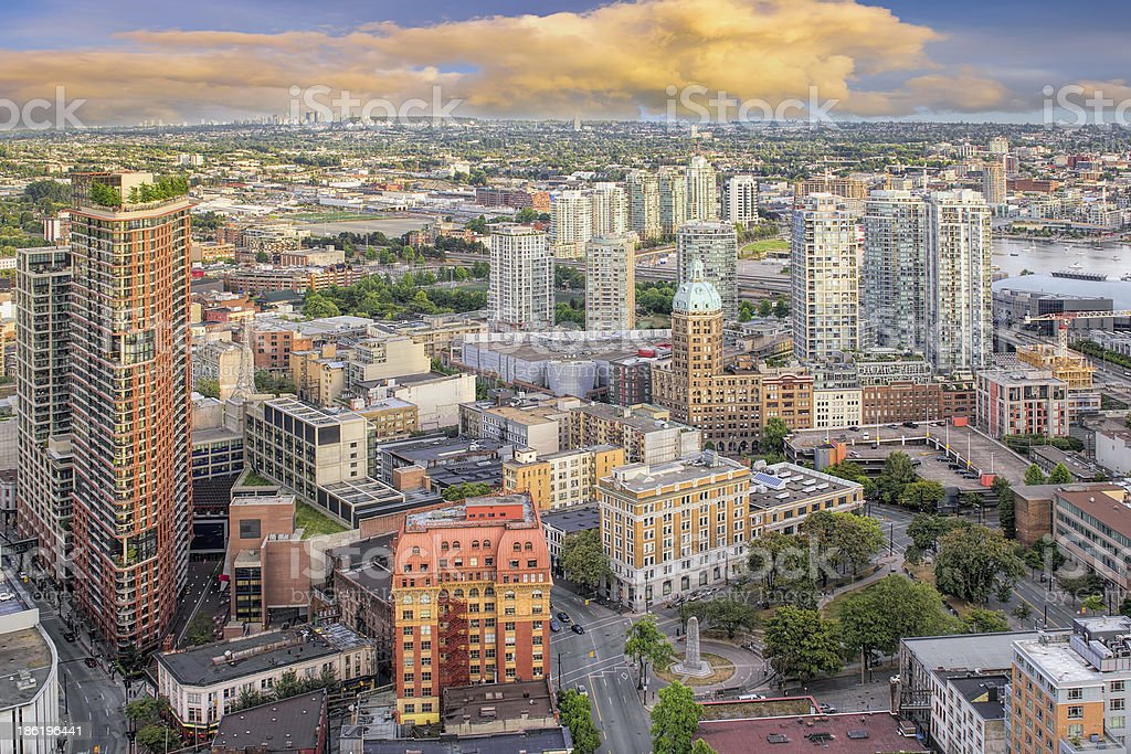 Vancouver BC Cityscape with Victory Square stock photo