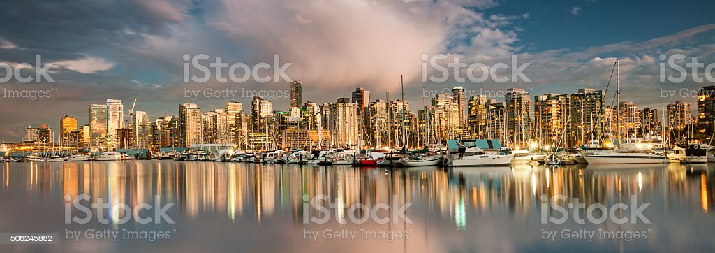 Vancouver BC panoramic cityscape stock photo
