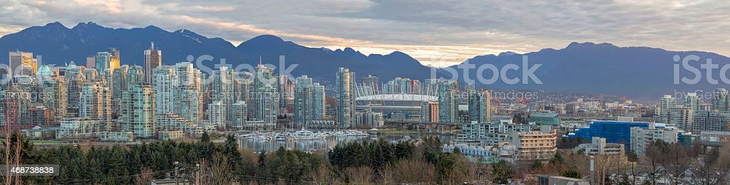 Vancouver BC Skyline Along False Creek Panorama stock photo