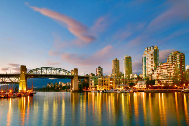 vancouver bc with harbor at sunset, canada - british columbia stock pictures, royalty-free photos & images
