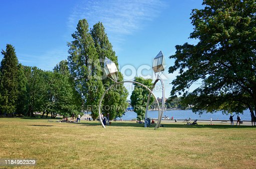175960311 istock photo Vancouver, British Columbia, Canada - June 23, 2018 Engagement is famous sculptures by Dennis Oppenheim 1184952329