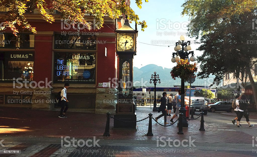 Vancouver, Canada: Gastown's steam-powered clock on the corner stock photo