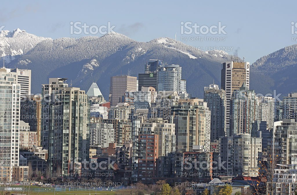 Vancouver\'s Yaletown high-rises and downtown office towers with a...