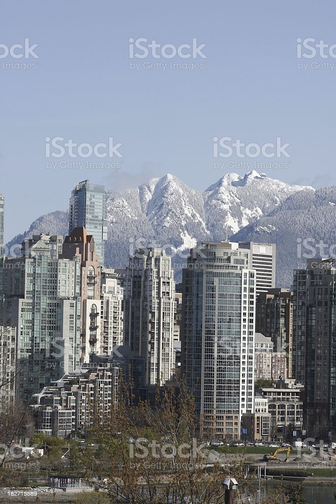 Vancouver City Centre and North Shore Mountains in British Columbia stock photo