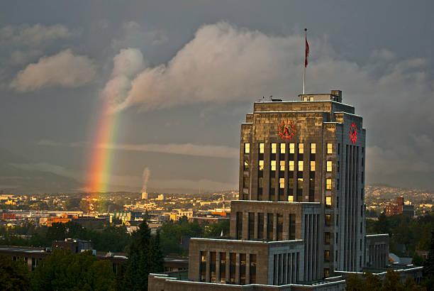 Vancouver City Hall and rainbow stock photo