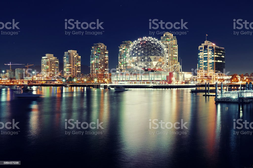 Vancouver city night stock photo