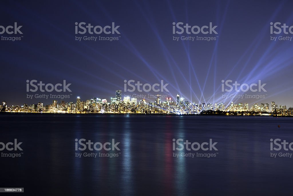 Vancouver\'s downtown city skyline at night.