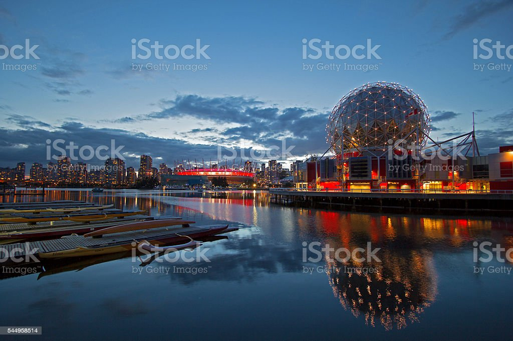 Vancouver City Skyline at Night stock photo