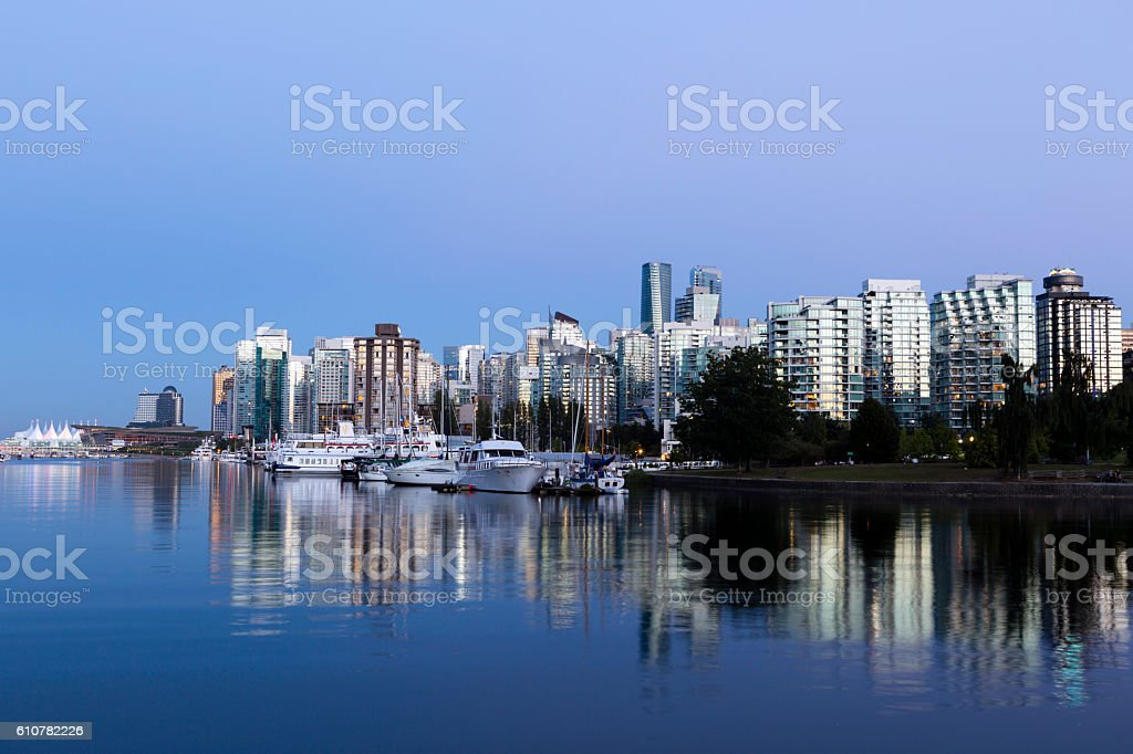 Dusk view of Vancouver city skyline located in British Columbia,...