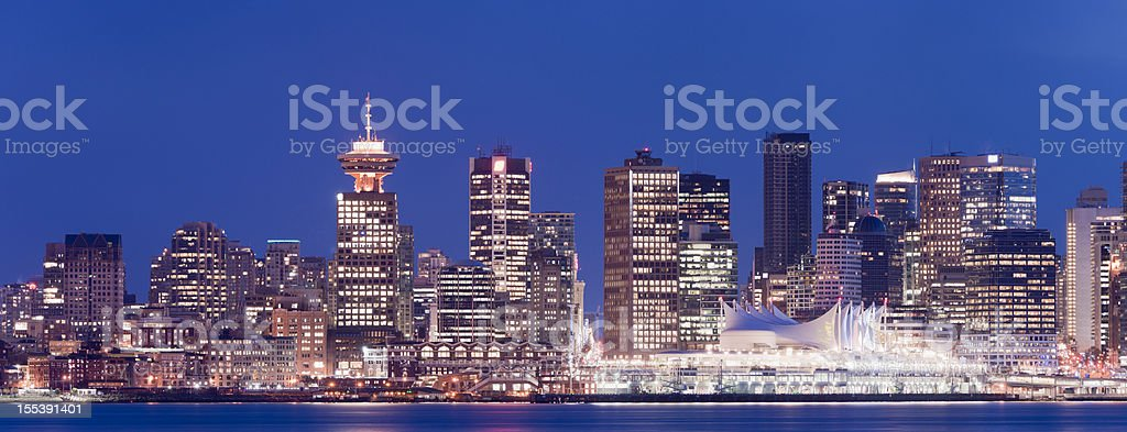 The Vancouver skyline at twilight, Canada.