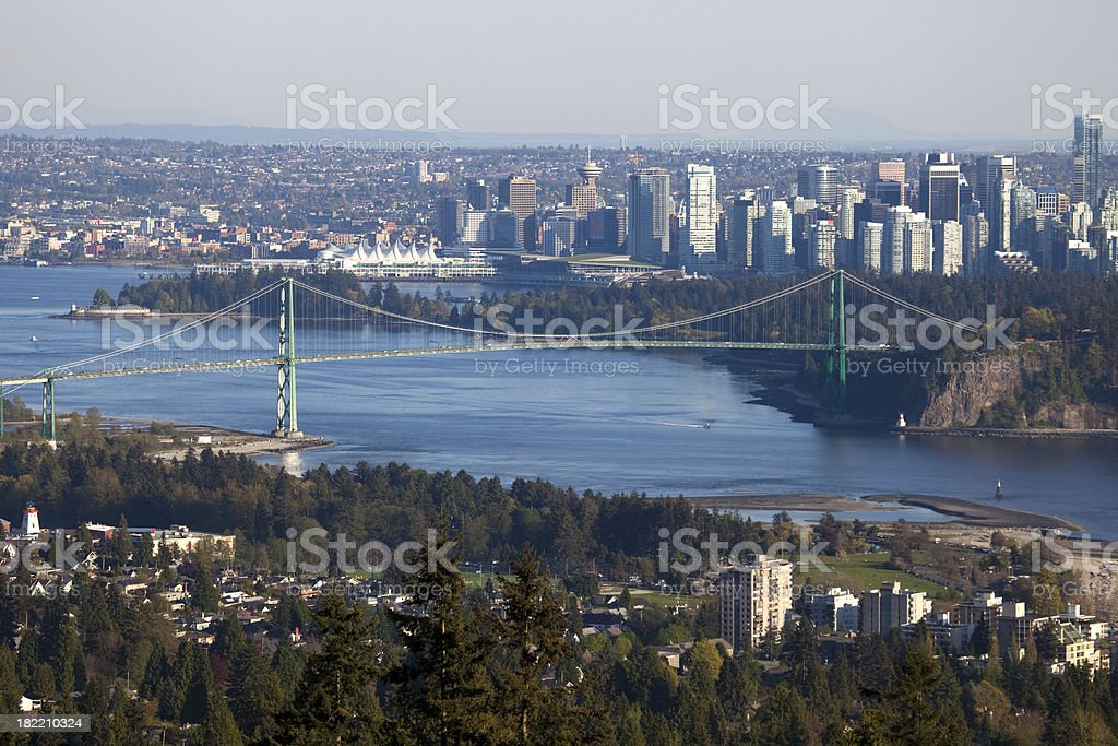 Downtown Vancouver and the Lions Gate bridge seen from the North...