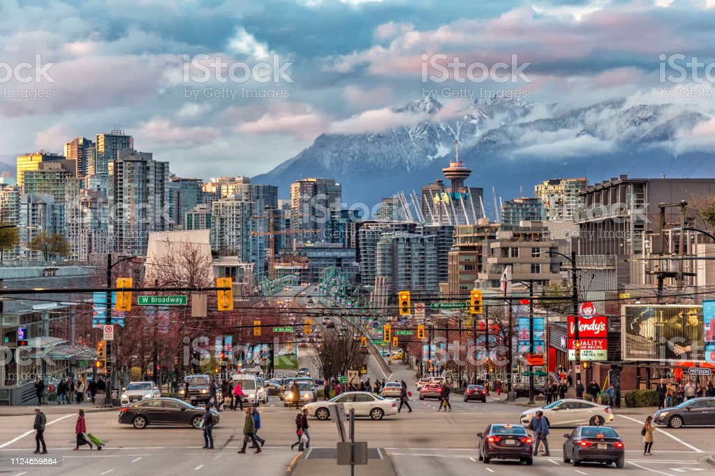 A look into the Vancouver downtown and snow mountain across the...
