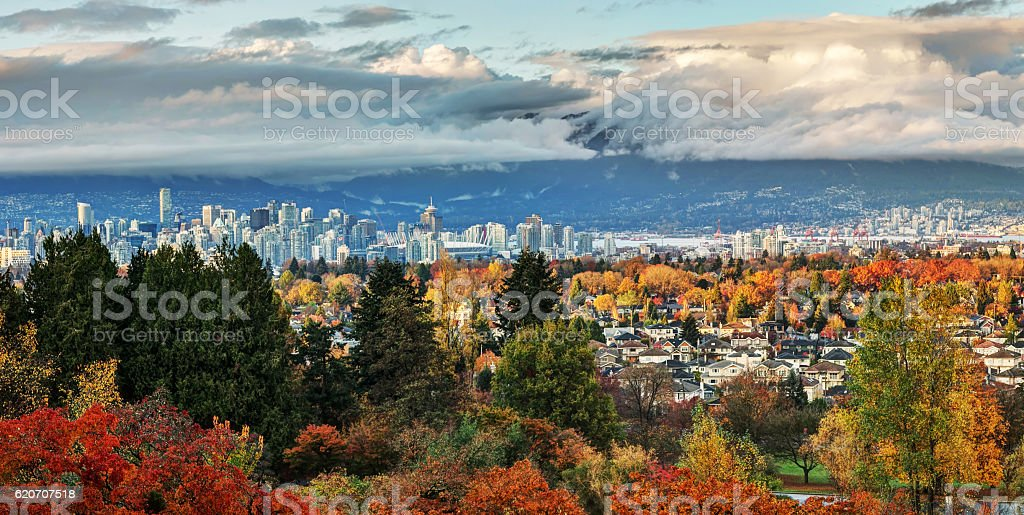 Vancouver city view in autumn stock photo