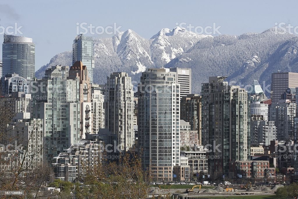 Vancouver Cityscape and North Shore Mountains in Spring stock photo