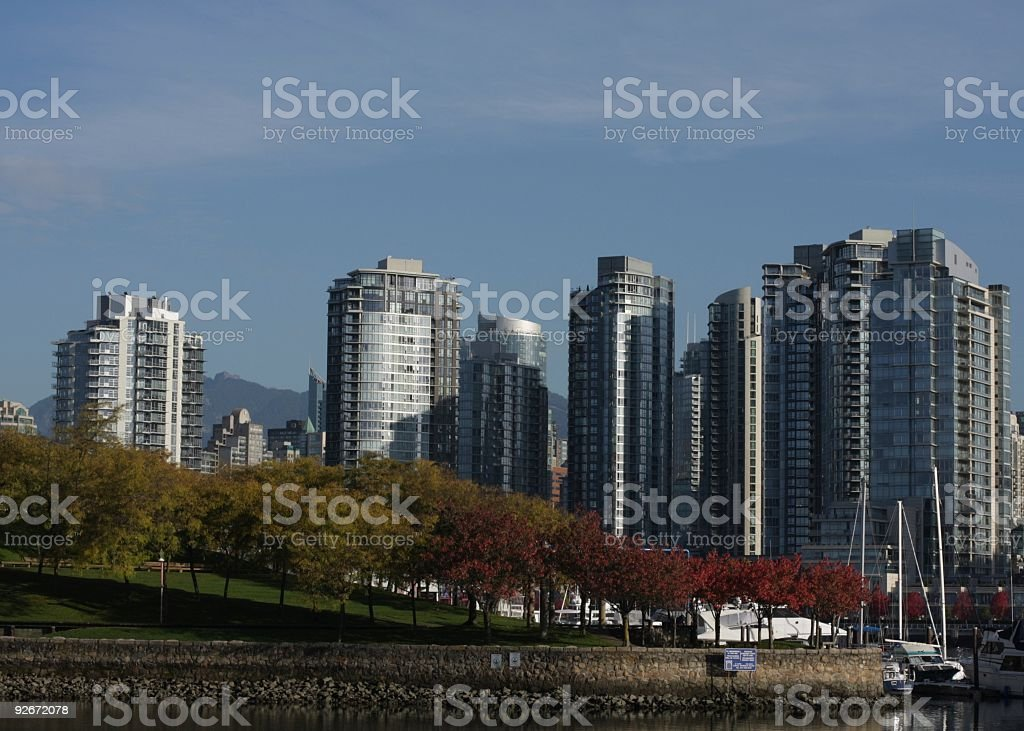 Vancouver Cityscape by False Creek in Autumn royalty-free stock photo