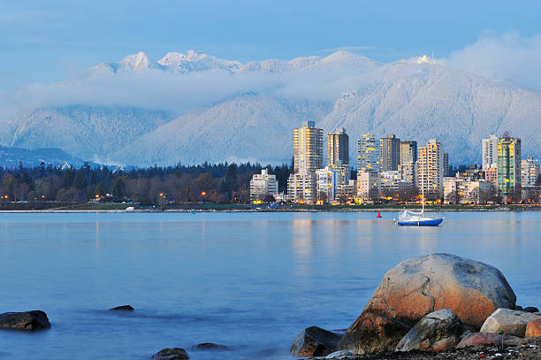 vancouver cityscape with grouse mountain background stock photo