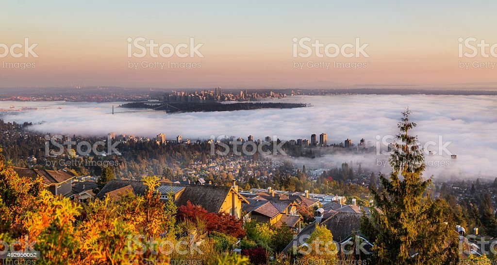 Vancouver covered in fog. stock photo