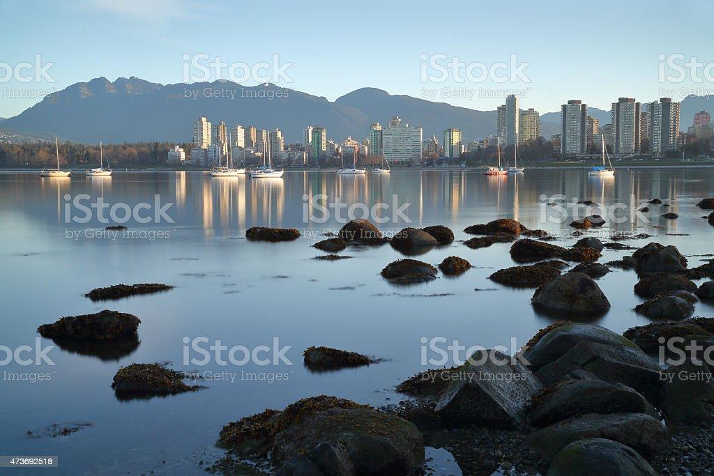 Vancouver Dawn, English Bay stock photo
