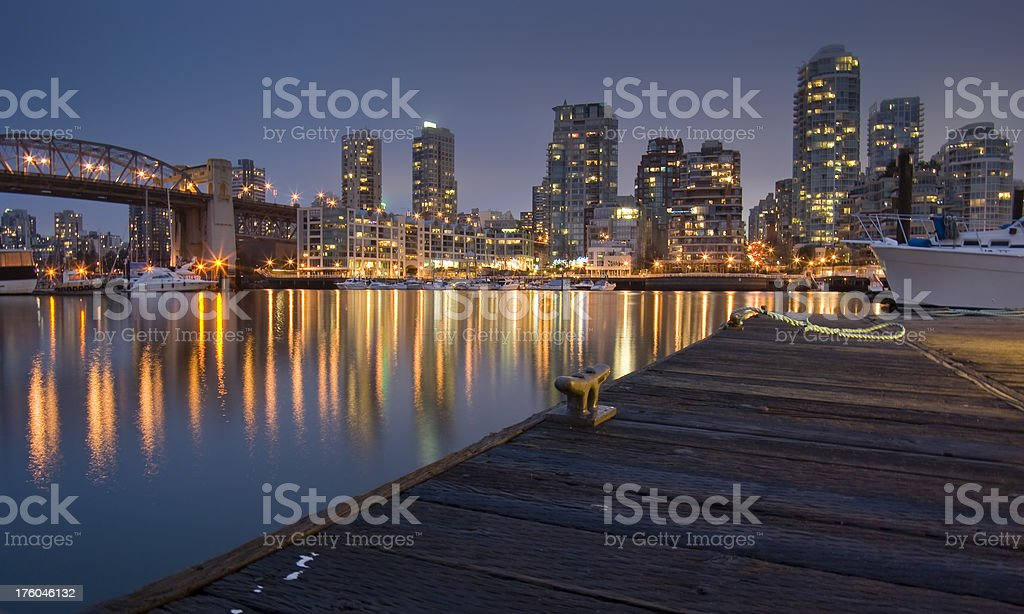 Vancouver, downtown at night royalty-free stock photo