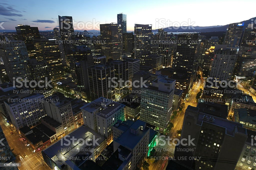 Vancouver Downtown at night stock photo