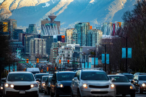 Vancouver downtown street view of Cambie Street stock photo