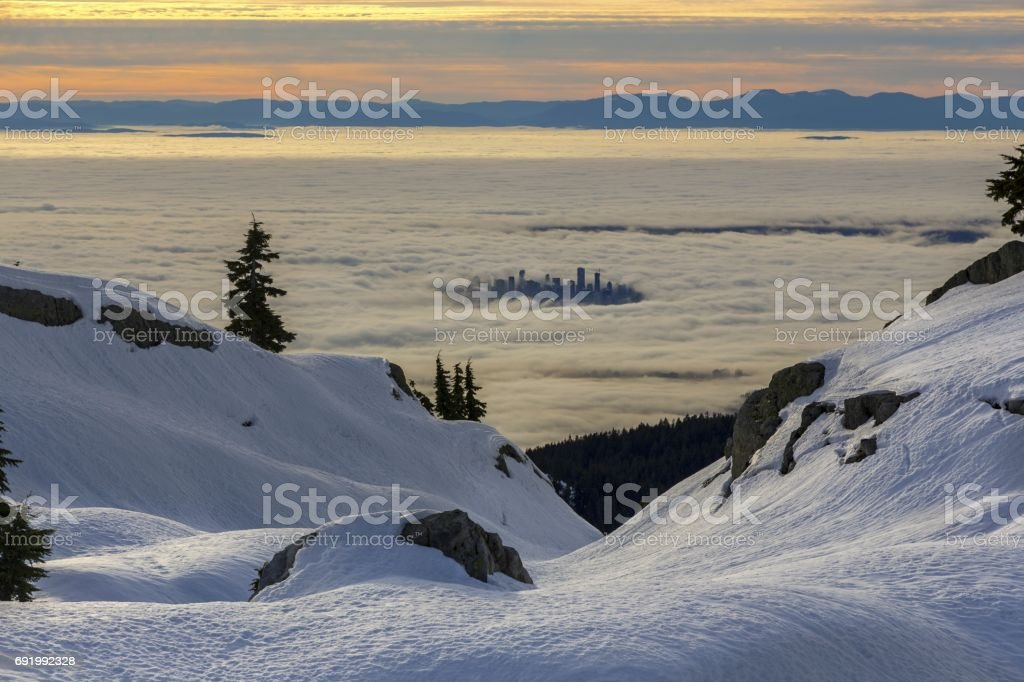 Vancouver Dowtown from Seymour Mountain stock photo